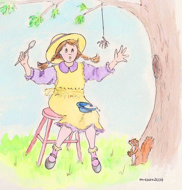 Miss Muffet Spider Squirrel Porridge Art Print featuring the drawing Along Came A Spider Little Miss Muffet by Marybeth Friel-Patton