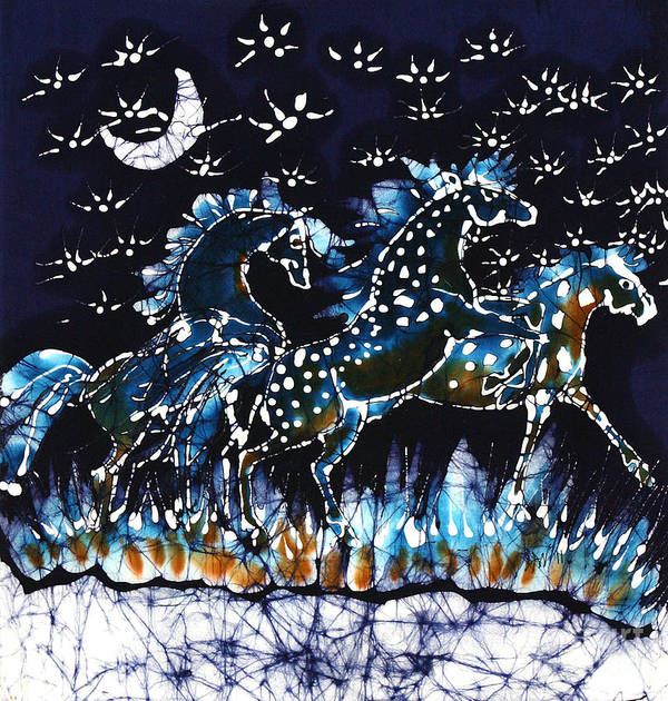 Horses Art Print featuring the tapestry - textile Horses Frolic On A Starlit Night by Carol Law Conklin