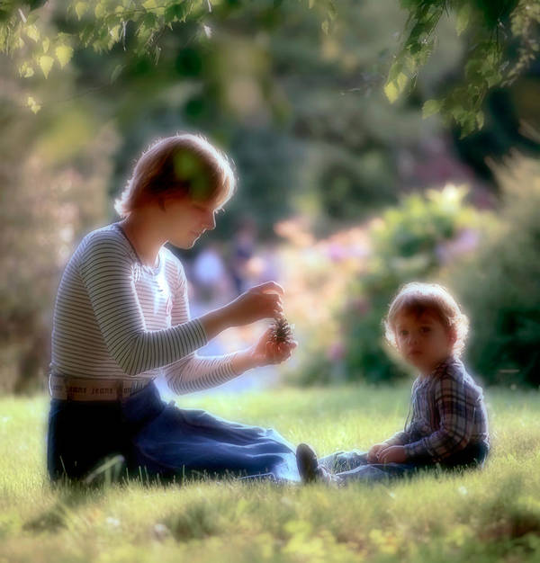 Mother And Son Art Print featuring the photograph Mother And Kid by Juan Carlos Ferro Duque