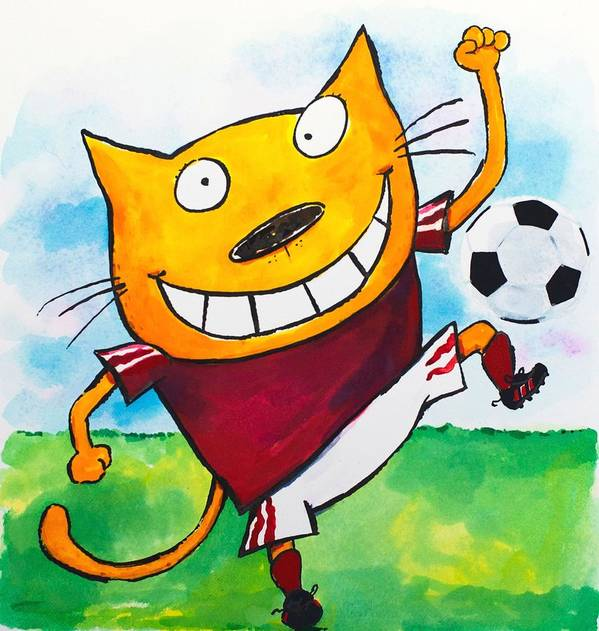 Cat Art Print featuring the painting Soccer Cat 2 by Scott Nelson