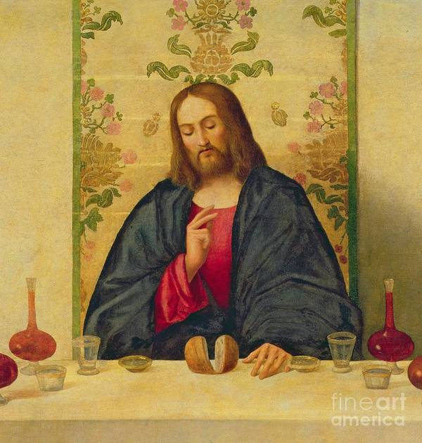 Jesus Print featuring the painting The Supper At Emmaus by Vincenzo di Biaio Catena