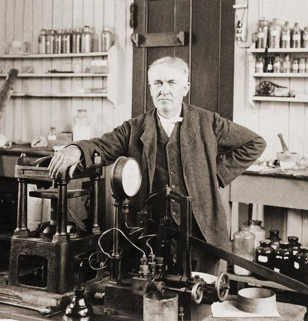 History Art Print featuring the photograph Thomas A. Edison 1847-1931, In His West by Everett