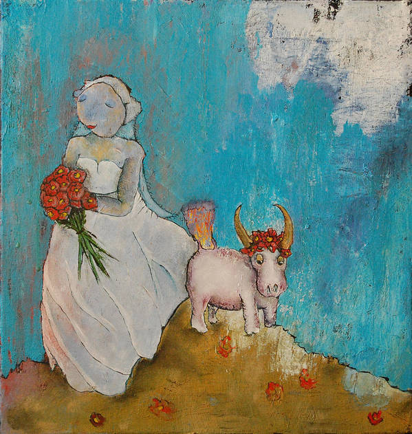 Bride Art Print featuring the painting Untitled by Abigail Lee Goldberger