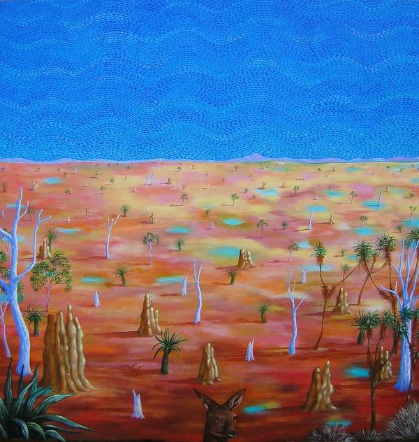 Landscape Art Print featuring the painting Anthills by Hiske Tas Bain
