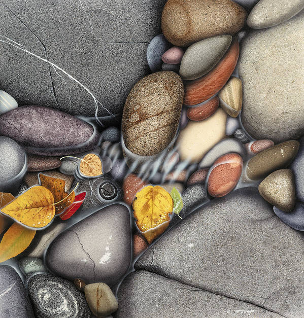 Jon Q Wright Art Print featuring the painting Autumn Stones by JQ Licensing