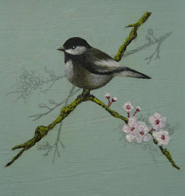 Miniature Art Print featuring the painting Chickadee by Victoria Heryet