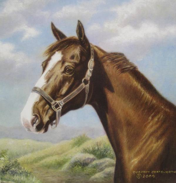Art Print featuring the painting Commission Chestnut Horse by Dorothy Coatsworth