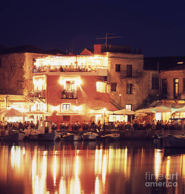 Crete Art Print featuring the photograph Crete. Rethymnon Harbor At Night by Steve Outram