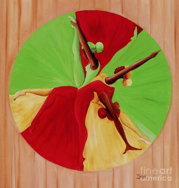 Dancing Art Print featuring the painting Dance Circle by Ikahl Beckford