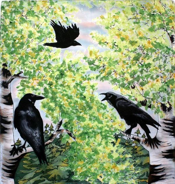 Ravens Art Print featuring the painting Imparting Wisdom by Linda Marcille