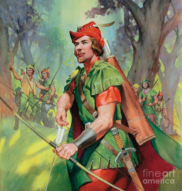 Robin Art Print featuring the painting Robin Hood by James Edwin McConnell