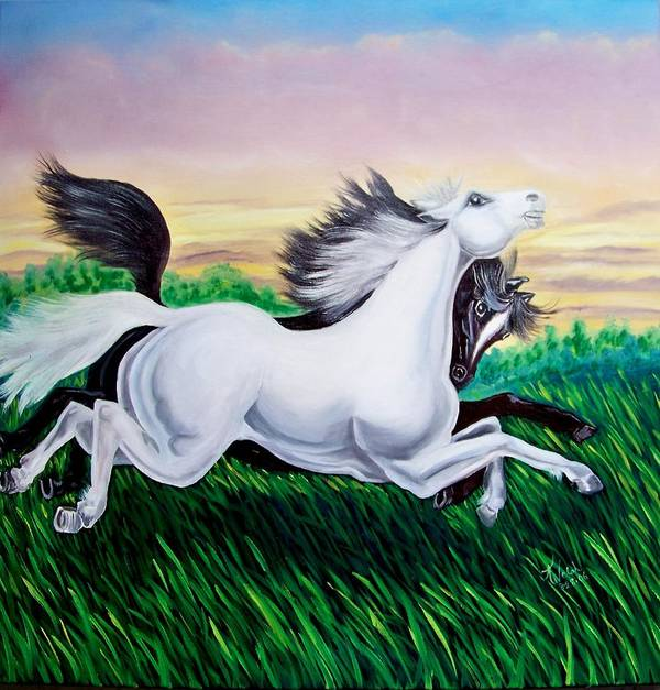 Horses Art Print featuring the painting Running Free by Kathern Welsh