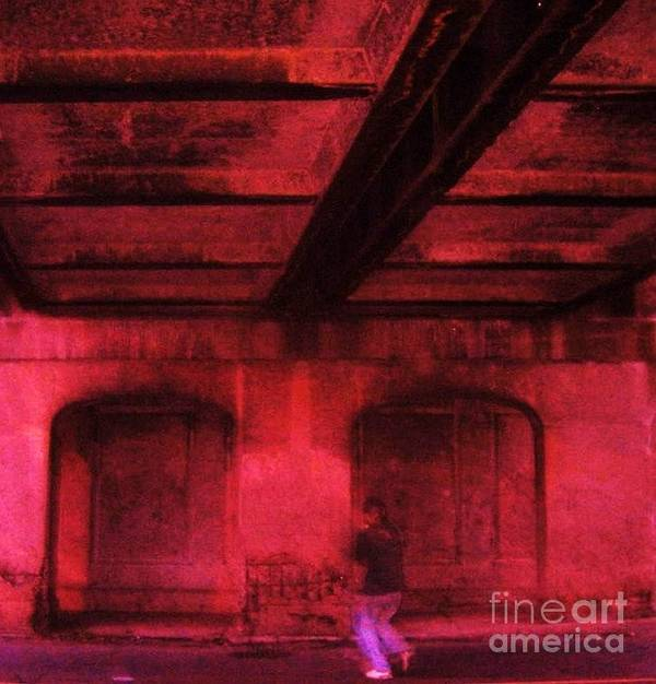 Tunnel City Urban Concrete Industrial Person Art Print featuring the photograph Shelter In The Tunnel by Reb Frost