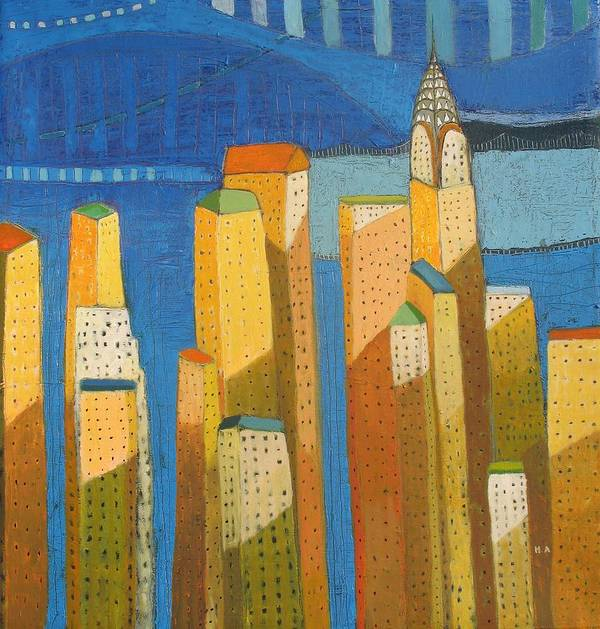 Abstract Cityscape Art Print featuring the painting Standing High by Habib Ayat
