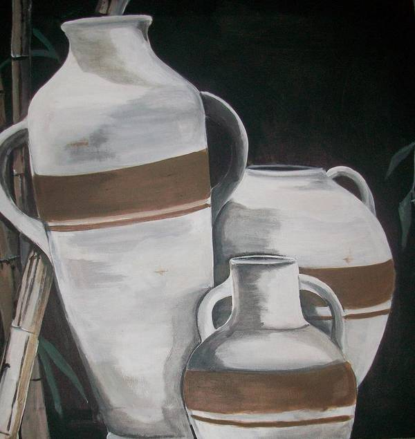Bamboo Art Print featuring the painting Striped Water Jars by Trudy-Ann Johnson