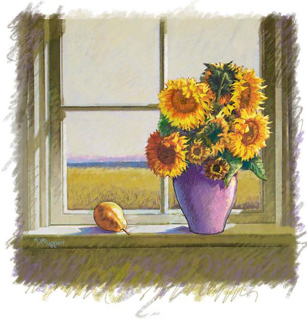 Still Life Art Print featuring the pastel Sunflowers by Lash Larue