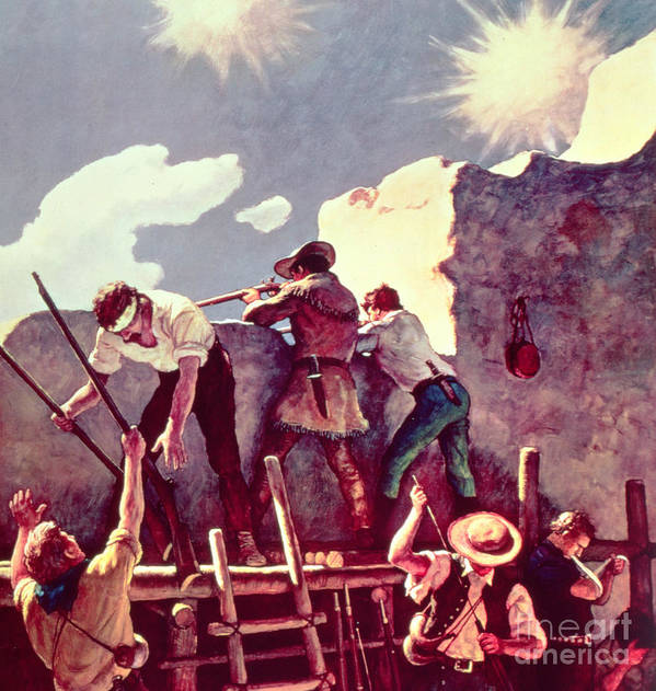 Alamo Art Print featuring the painting The Last Stand At The Alamo by Newell Convers Wyeth