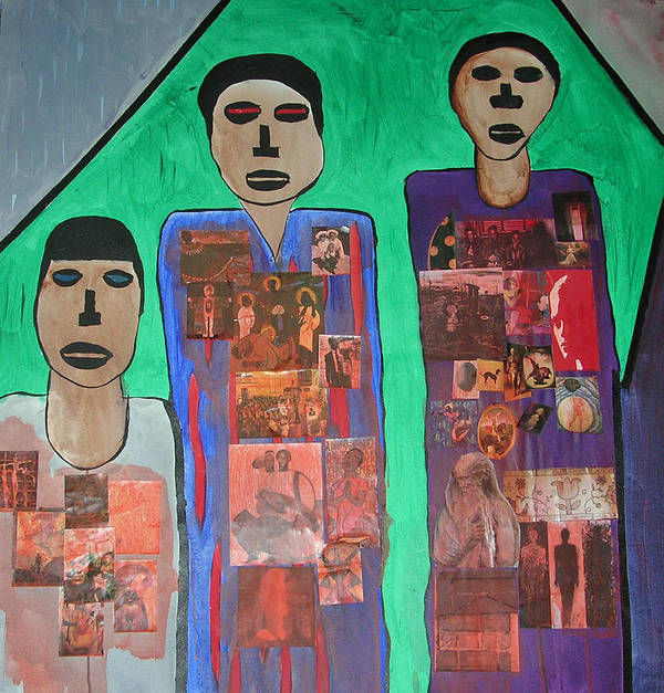Figurative Collage Art Print featuring the painting Three Brothers by Russell Simmons