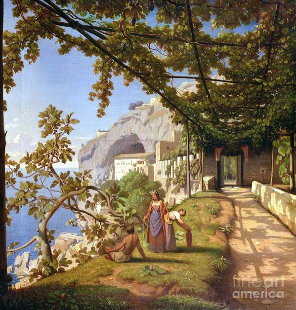 Leaves Print featuring the painting View Of Capri by Theodore Aligny