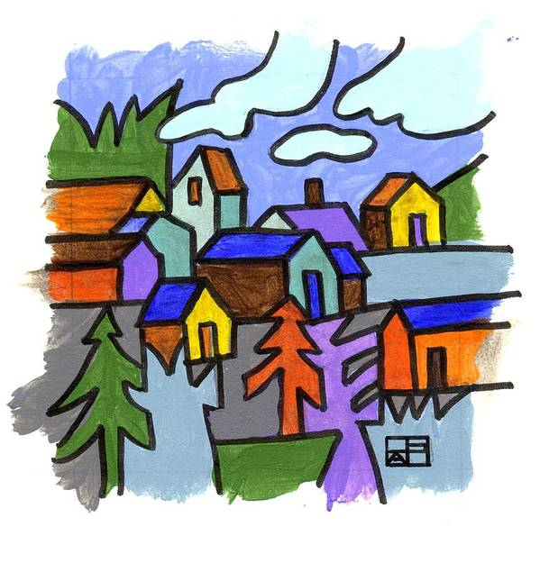 Landscape Design Art Print featuring the painting Village Scene by Helen Pisarek