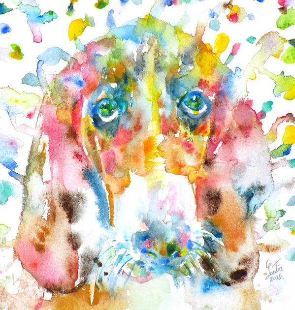Basset Hound Art Print featuring the painting Watercolor Basset Hound by Fabrizio Cassetta