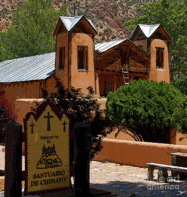 Art Art Print featuring the painting Welcome To Santuario De Chimayo by David Lee Thompson