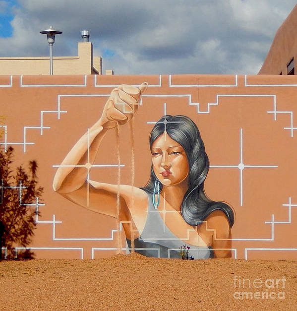 Woman Art Print featuring the digital art Woman Holding The Sands Of Time by Ann Johndro-Collins