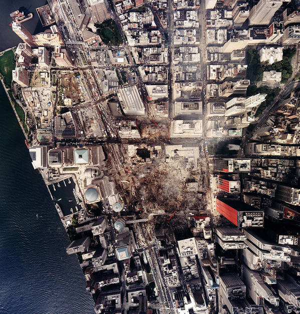 2000s Art Print featuring the photograph World Trade Center, Aerial Photograph by Everett