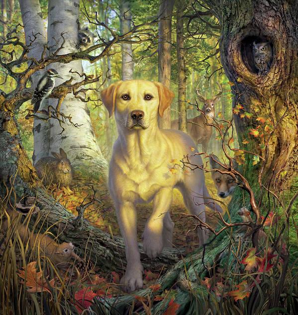 Labrador Art Print featuring the digital art Yellow Lab In Fall by Mark Fredrickson