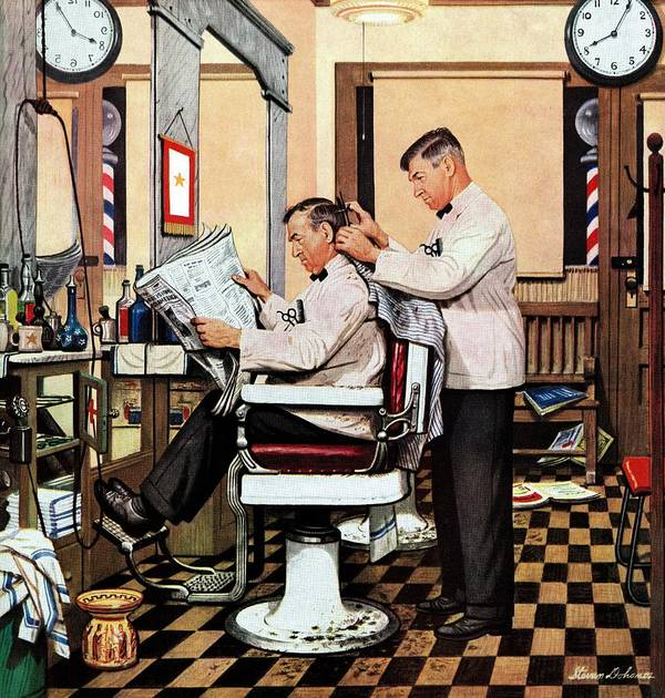 Barbers Art Print featuring the drawing Barber Getting Haircut by Stevan Dohanos