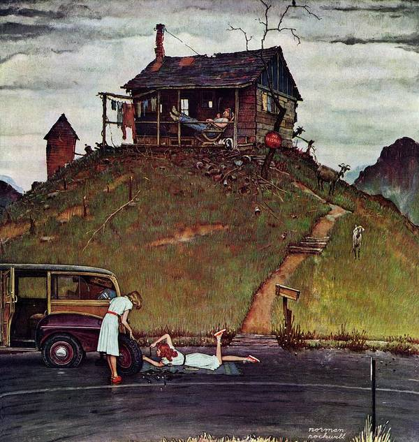 Automobiles Art Print featuring the drawing Changing A Flat by Norman Rockwell