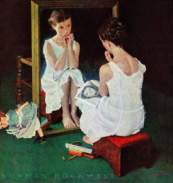 Actresses Art Print featuring the drawing Girl At The Mirror by Norman Rockwell