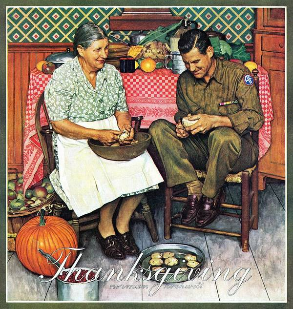 Kitchens Art Print featuring the drawing Home For Thanksgiving by Norman Rockwell