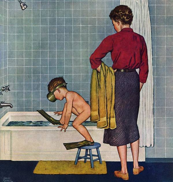 Bathing Art Print featuring the drawing Scuba In The Tub by Amos Sewell