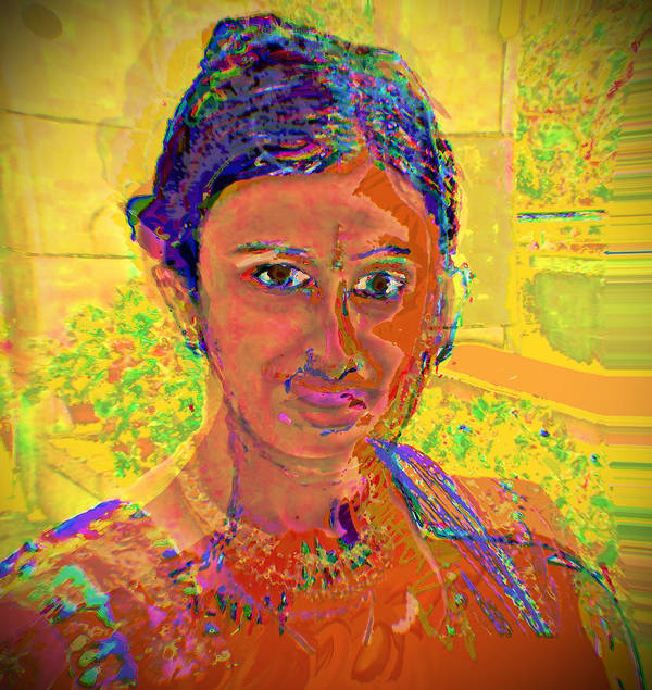 Portrait Art Print featuring the digital art Gopika by Noredin Morgan