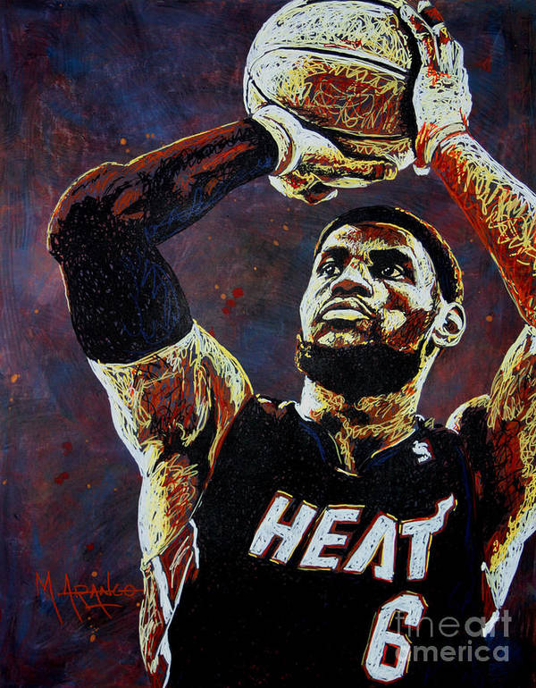 Lebron Art Print featuring the painting Lebron James Mvp by Maria Arango