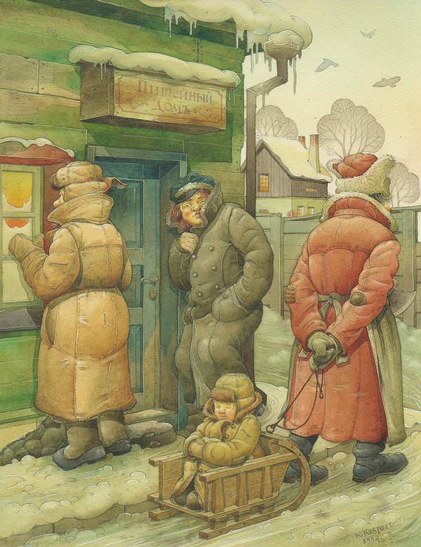 Russian Winter Art Print featuring the painting Russian Scene 07 by Kestutis Kasparavicius