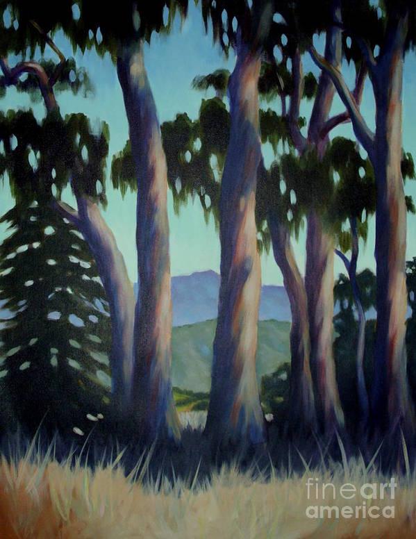 Plein Air Painting Art Print featuring the painting Santa Barbara Eucalyptus Grove by Teri Tompkins
