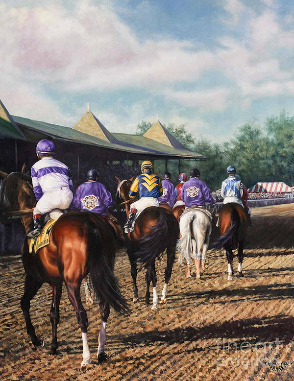 Derby Art Print featuring the painting Saratoga Post Parade by Thomas Allen Pauly