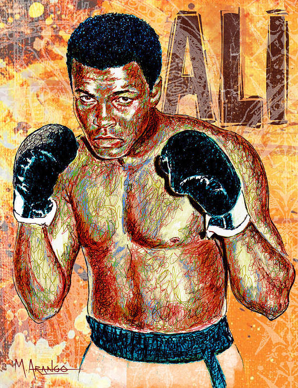 Muhammad Ali Art Print featuring the drawing The Greatest Of All Time by Maria Arango