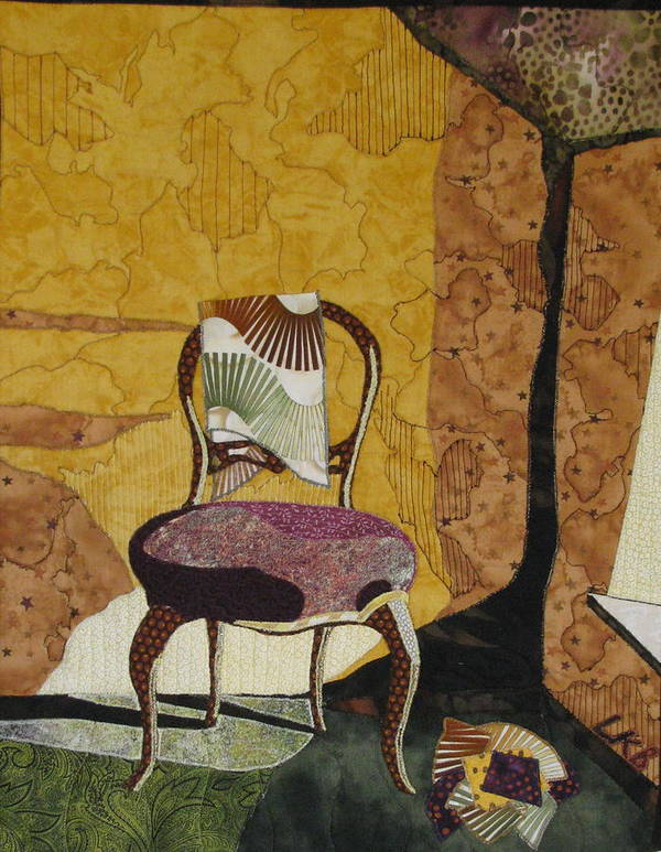 Art Quilts Tapestries Textiles Art Print featuring the tapestry - textile The Old Chair by Lynda K Boardman