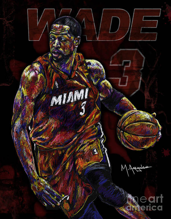 Dwyane Wade Art Print featuring the drawing Wade by Maria Arango