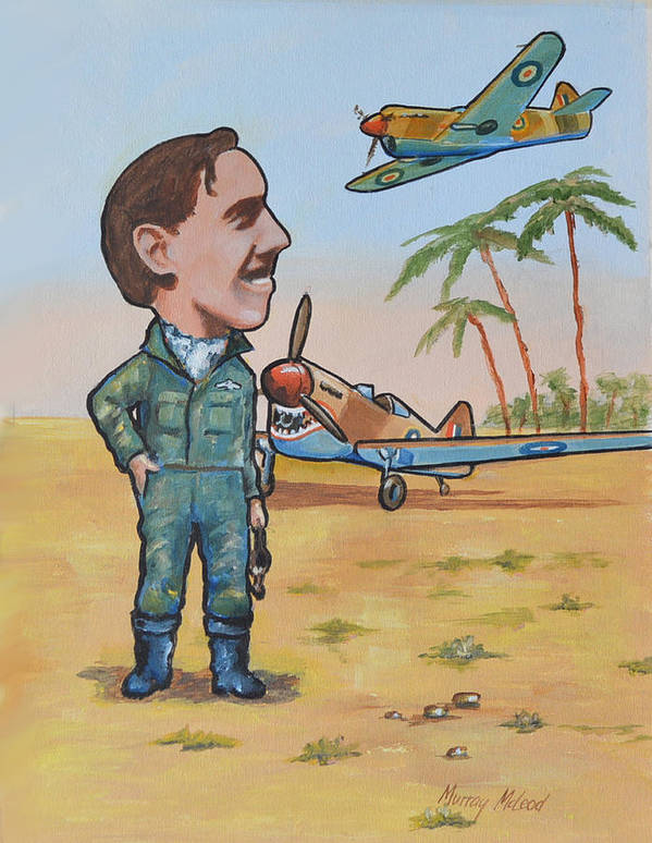 Aviation Artwork Print featuring the painting Wing Cdr.clive Caldwell by Murray McLeod