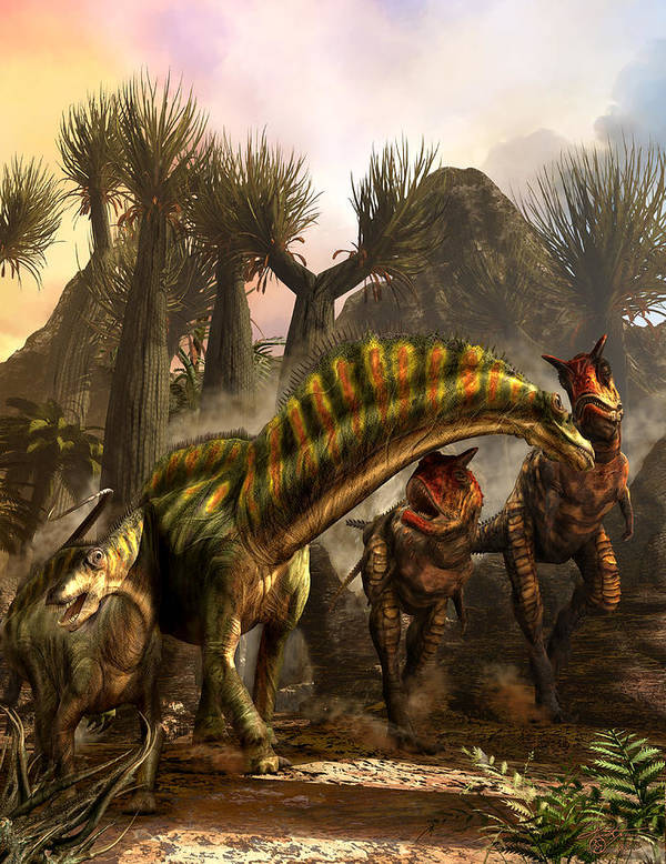 Dinosaurs Art Print featuring the photograph Amargasaurus Facing Carnotaurus by Kurt Miller