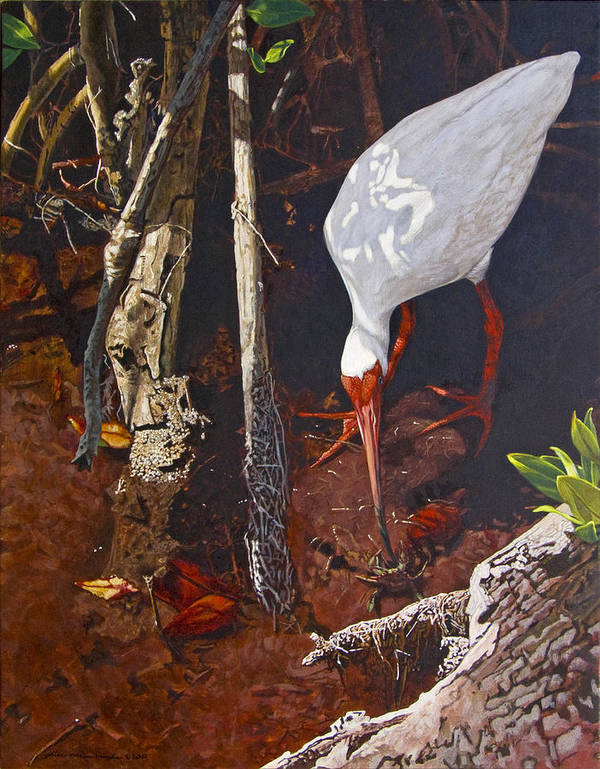 Waterfowl Art Print featuring the painting Sparring For Lunch by Peter Muzyka