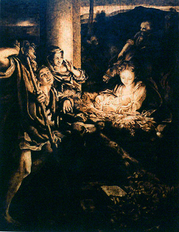 Dino Muradian Art Print featuring the pyrography Adoration Of The Shepherds by Dino Muradian