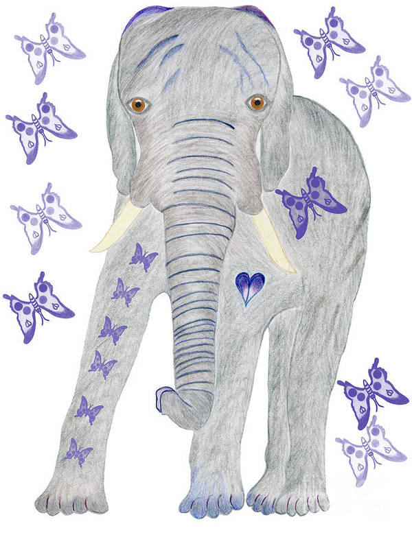 Elephant Art Print featuring the painting Brandy And The Butterflies by Tess M J Iroldi