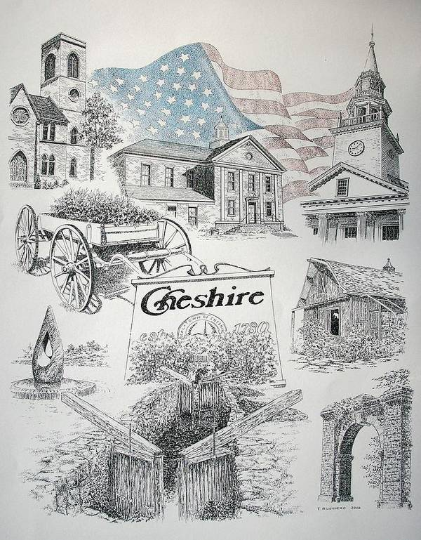 Connecticut Cheshire Ct Historical Poster Architecture Buildings New England Art Print featuring the drawing Cheshire Historical by Tony Ruggiero