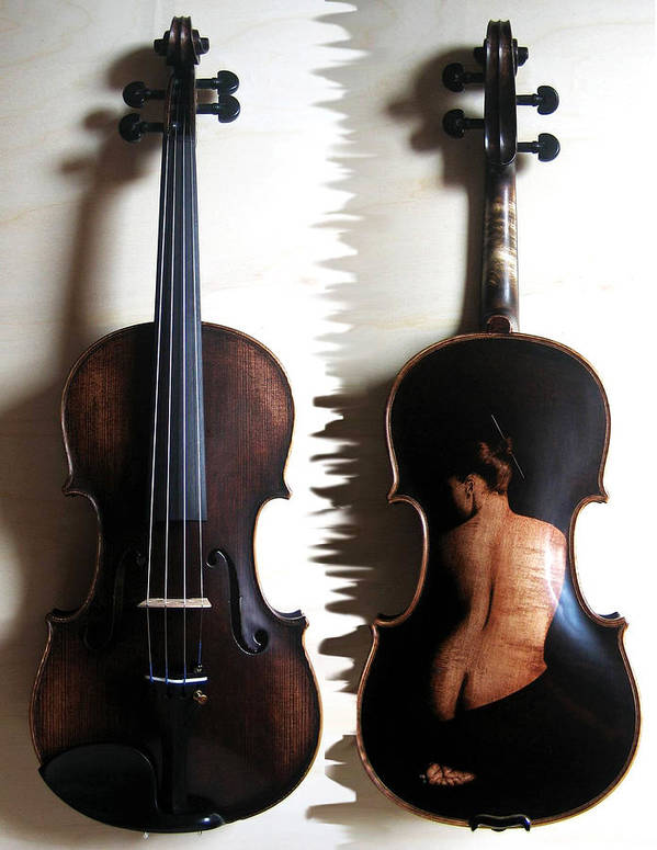 Dino Muradian Art Print featuring the pyrography Custom Gliga Violin 2 by Dino Muradian