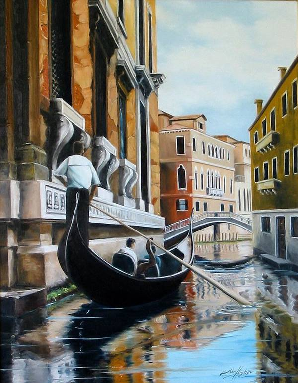 Venice Art Print featuring the painting Gondola Ride On Venice Italy Canal by Jim Horton